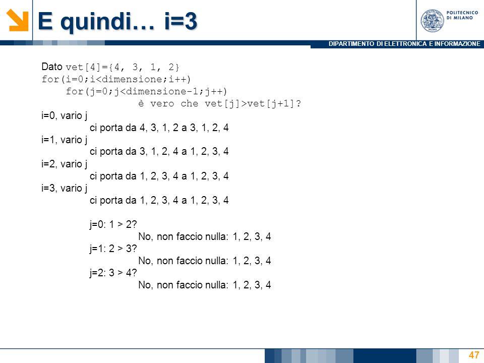 DIPARTIMENTO DI ELETTRONICA E INFORMAZIONE E quindi… i=3 Dato vet[4]={4, 3, 1, 2} for(i=0;i<dimensione;i++) for(j=0;j<dimensione-1;j++) è vero che vet