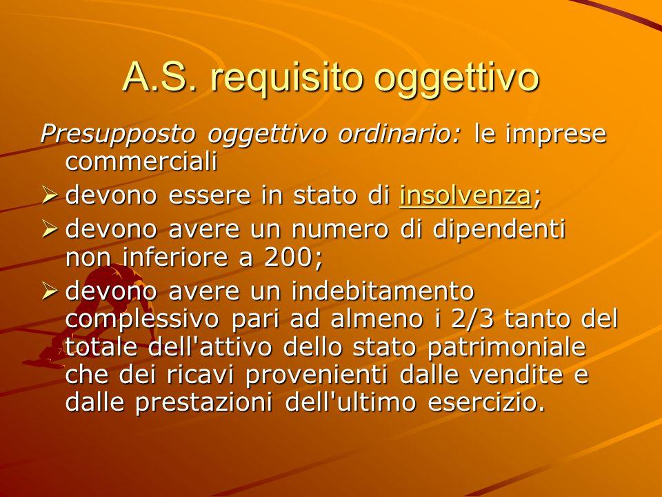 A.S. requisito oggettivo Presupposto oggettivo ordinario: le imprese commerciali  devono essere in stato di insolvenza; insolvenza  devono avere un
