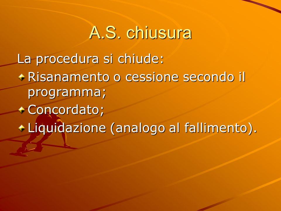 A.S. chiusura La procedura si chiude: Risanamento o cessione secondo il programma; Concordato; Liquidazione (analogo al fallimento).