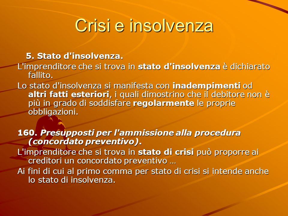 Crisi e insolvenza 5. Stato d insolvenza.