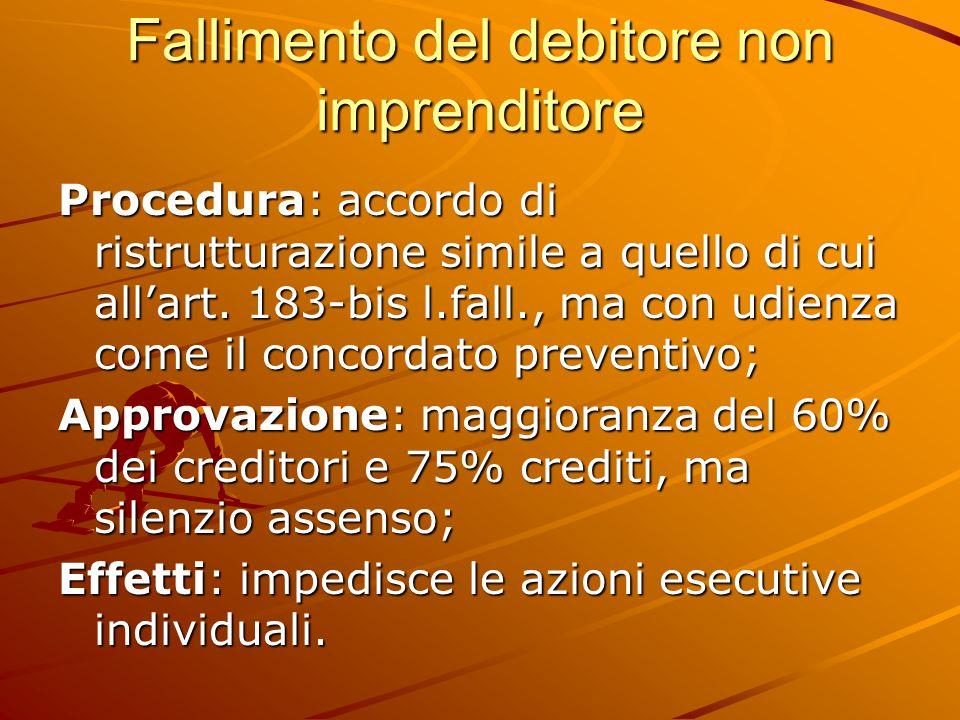 Fallimento del debitore non imprenditore Procedura: accordo di ristrutturazione simile a quello di cui all'art.