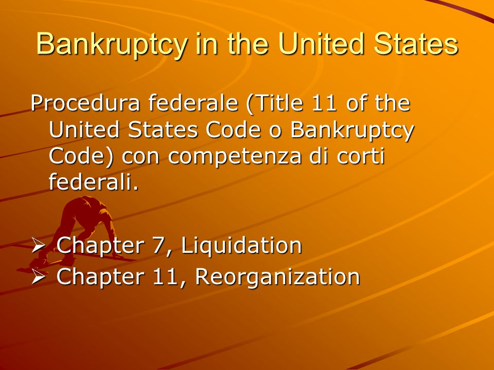 Bankruptcy in the United States Procedura federale (Title 11 of the United States Code o Bankruptcy Code) con competenza di corti federali.