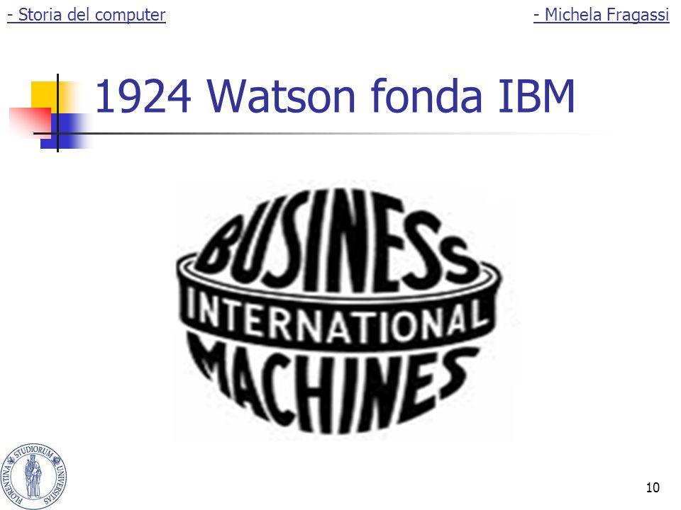 10 1924 Watson fonda IBM - Storia del computer- Michela Fragassi