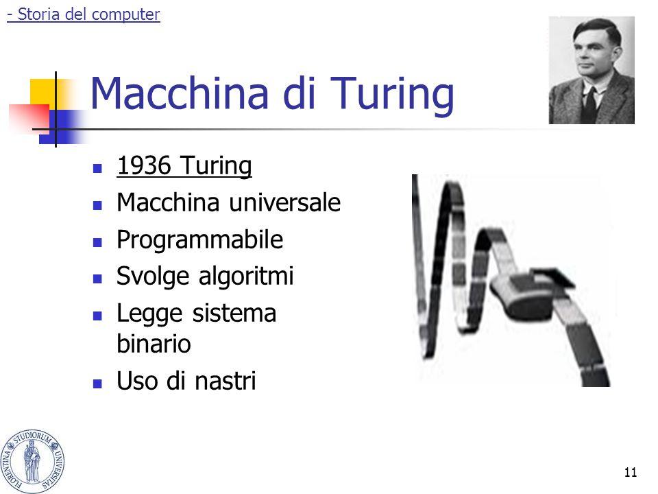 11 Macchina di Turing 1936 Turing Macchina universale Programmabile Svolge algoritmi Legge sistema binario Uso di nastri - Storia del computer