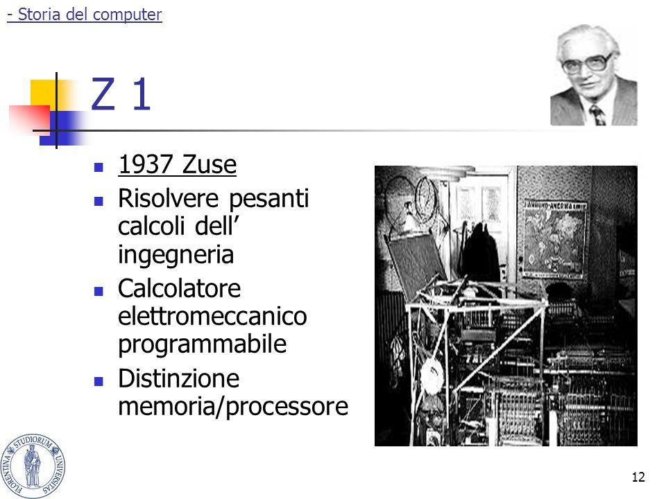 12 Z 1 1937 Zuse Risolvere pesanti calcoli dell' ingegneria Calcolatore elettromeccanico programmabile Distinzione memoria/processore - Storia del com