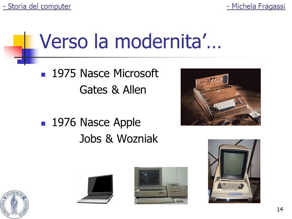 14 Verso la modernita'… 1975 Nasce Microsoft Gates & Allen 1976 Nasce Apple Jobs & Wozniak - Storia del computer- Michela Fragassi