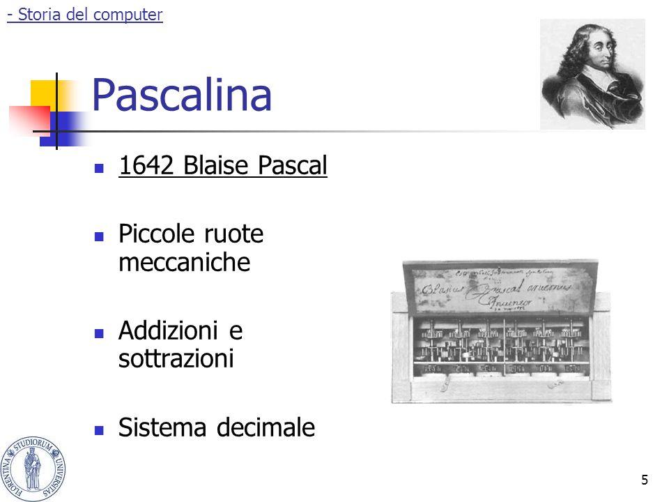 5 Pascalina 1642 Blaise Pascal Piccole ruote meccaniche Addizioni e sottrazioni Sistema decimale - Storia del computer