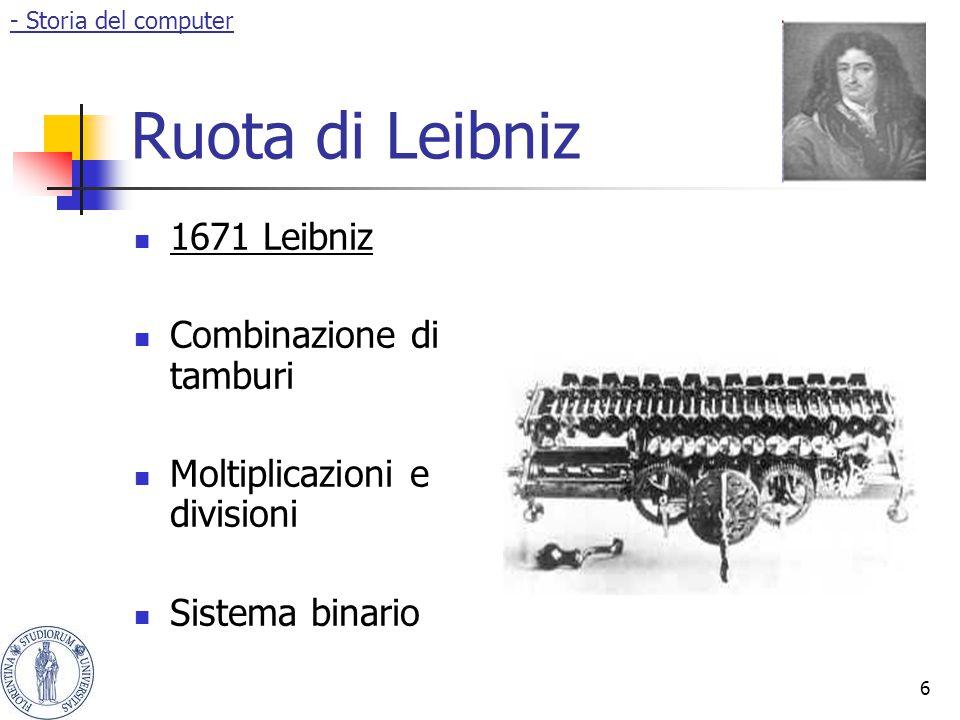 6 Ruota di Leibniz 1671 Leibniz Combinazione di tamburi Moltiplicazioni e divisioni Sistema binario - Storia del computer