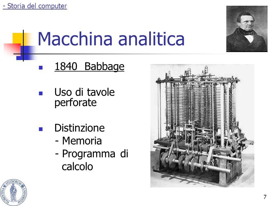 8 Ada Lovelace Algoritmo per la macchina analitica Primo software Basi della programmazione - Storia del computer- Michela Fragassi