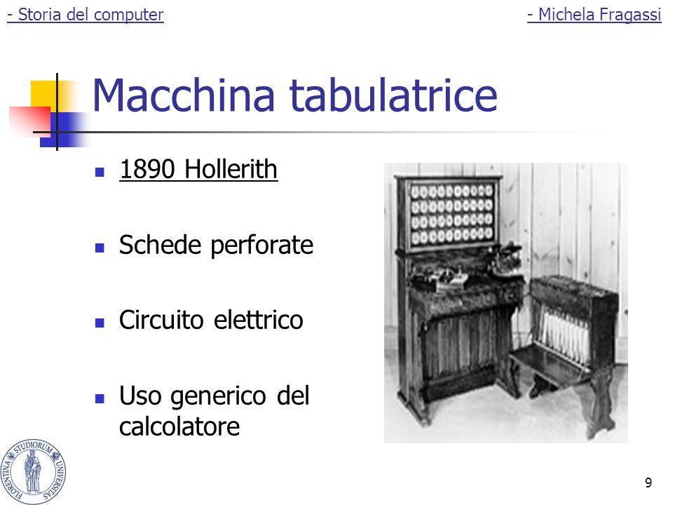 9 Macchina tabulatrice 1890 Hollerith Schede perforate Circuito elettrico Uso generico del calcolatore - Storia del computer- Michela Fragassi
