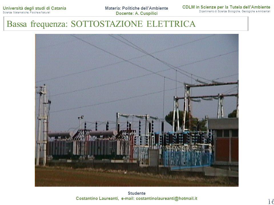 16 Studente Costantino Laureanti, e-mail: costantinolaureanti@hotmail.it Materia: Politiche dell'Ambiente Docente: A. Cuspilici CDLM in Scienze per la
