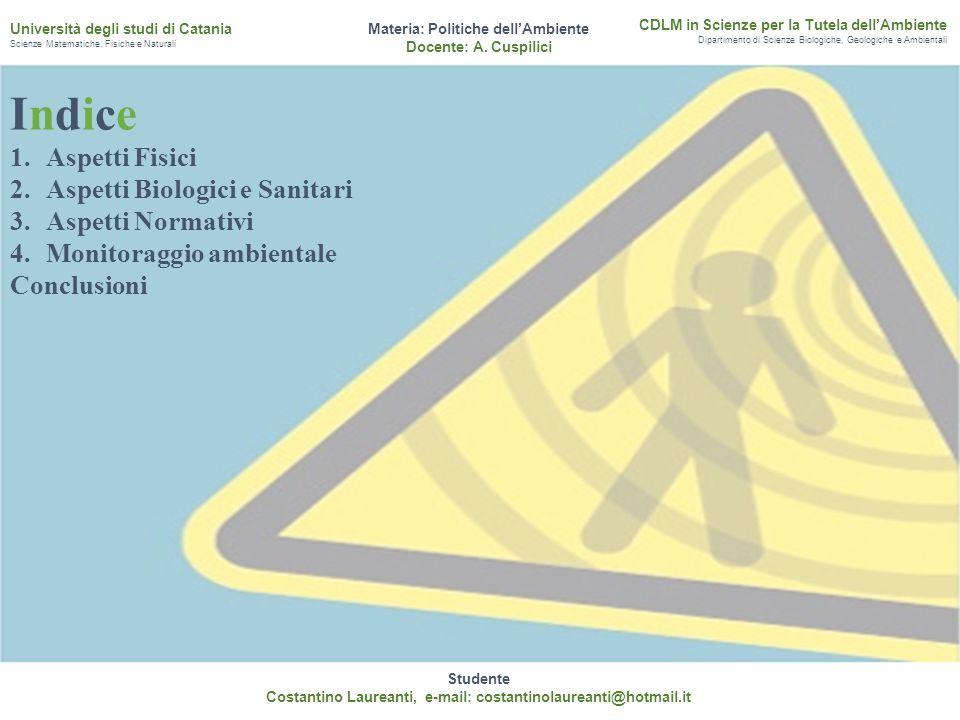 Studente Costantino Laureanti, e-mail: costantinolaureanti@hotmail.it Materia: Politiche dell'Ambiente Docente: A. Cuspilici CDLM in Scienze per la Tu