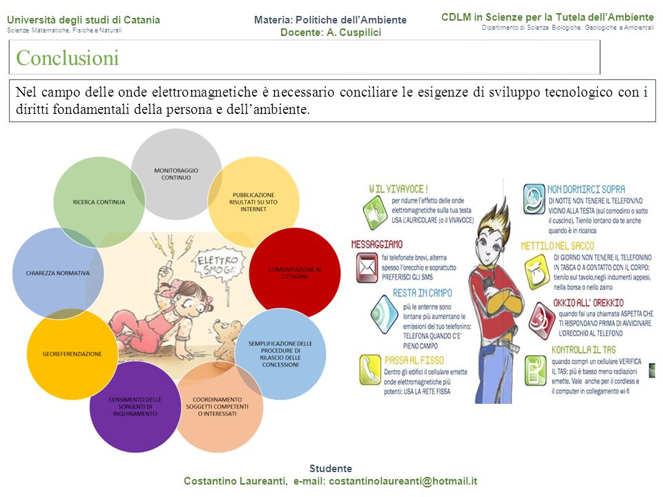 Conclusioni Studente Costantino Laureanti, e-mail: costantinolaureanti@hotmail.it Materia: Politiche dell'Ambiente Docente: A. Cuspilici CDLM in Scien