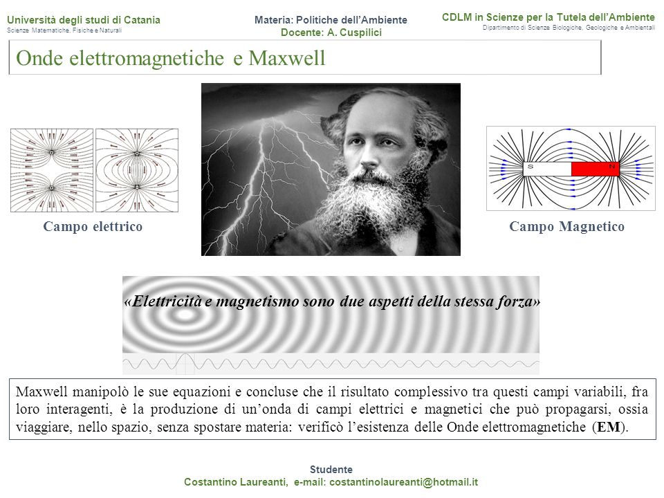 «Elettricità e magnetismo sono due aspetti della stessa forza» Studente Costantino Laureanti, e-mail: costantinolaureanti@hotmail.it Materia: Politich