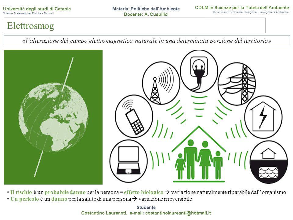 Elettrosmog Studente Costantino Laureanti, e-mail: costantinolaureanti@hotmail.it Materia: Politiche dell'Ambiente Docente: A. Cuspilici CDLM in Scien
