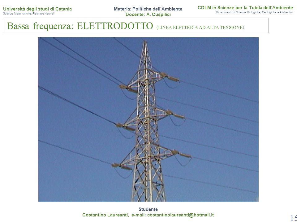 15 Studente Costantino Laureanti, e-mail: costantinolaureanti@hotmail.it Materia: Politiche dell'Ambiente Docente: A. Cuspilici CDLM in Scienze per la