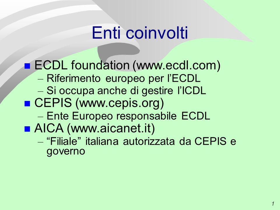 1 Enti coinvolti ECDL foundation (www.ecdl.com) – Riferimento europeo per l'ECDL – Si occupa anche di gestire l'ICDL CEPIS (www.cepis.org) – Ente Europeo responsabile ECDL AICA (www.aicanet.it) – Filiale italiana autorizzata da CEPIS e governo