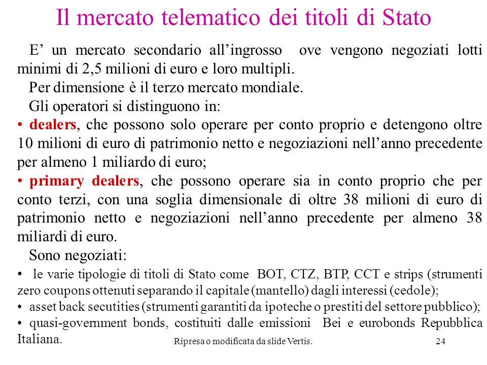 Ripresa o modificata da slide Vertis.24 Il mercato telematico dei titoli di Stato E' un mercato secondario all'ingrosso ove vengono negoziati lotti minimi di 2,5 milioni di euro e loro multipli.