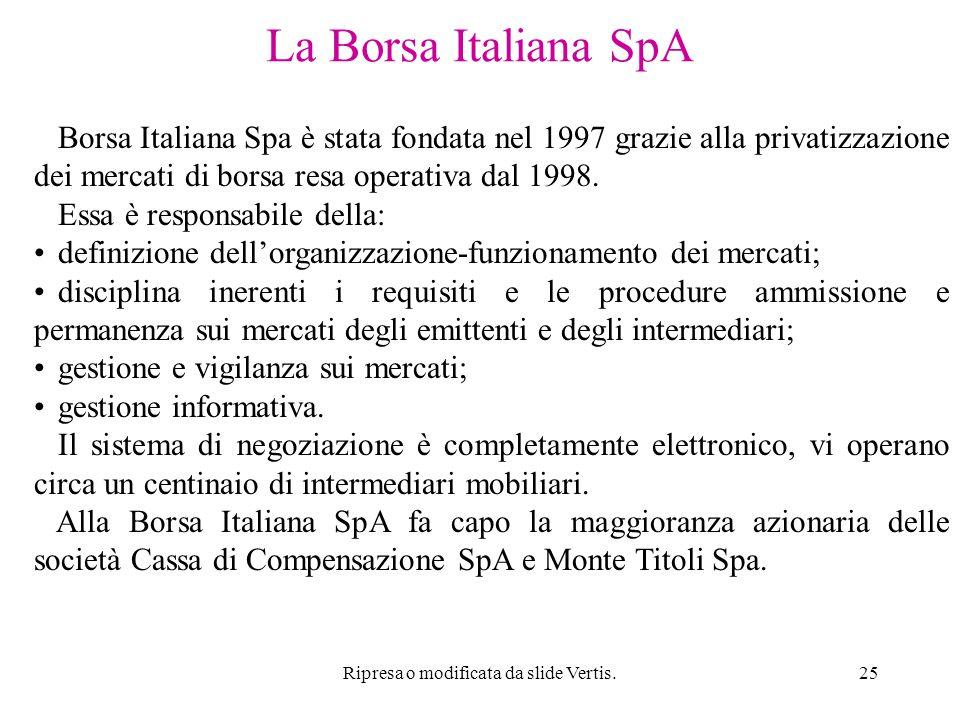Ripresa o modificata da slide Vertis.25 La Borsa Italiana SpA Borsa Italiana Spa è stata fondata nel 1997 grazie alla privatizzazione dei mercati di borsa resa operativa dal 1998.