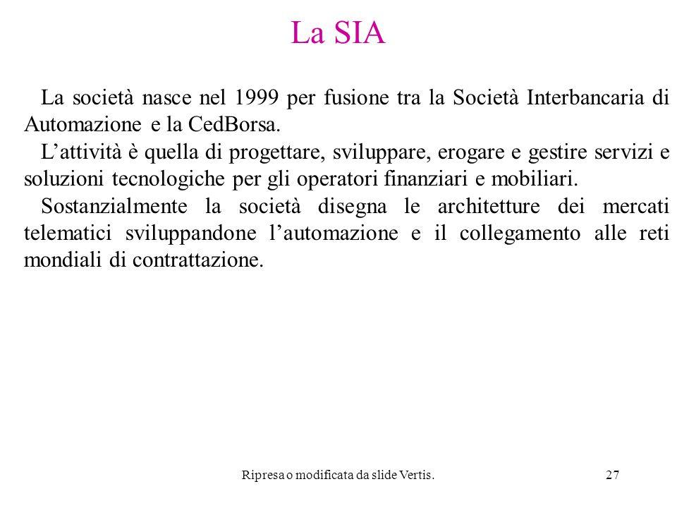 Ripresa o modificata da slide Vertis.27 La SIA La società nasce nel 1999 per fusione tra la Società Interbancaria di Automazione e la CedBorsa.