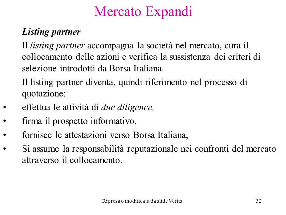 Ripresa o modificata da slide Vertis.32 Mercato Expandi Listing partner Il listing partner accompagna la società nel mercato, cura il collocamento delle azioni e verifica la sussistenza dei criteri di selezione introdotti da Borsa Italiana.