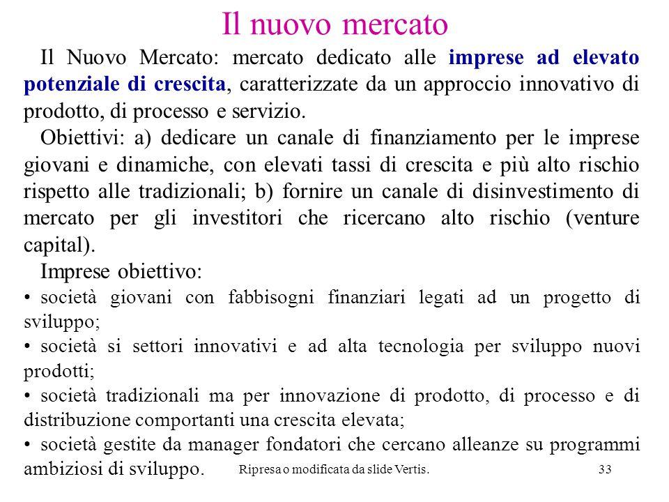 Ripresa o modificata da slide Vertis.33 Il nuovo mercato Il Nuovo Mercato: mercato dedicato alle imprese ad elevato potenziale di crescita, caratterizzate da un approccio innovativo di prodotto, di processo e servizio.
