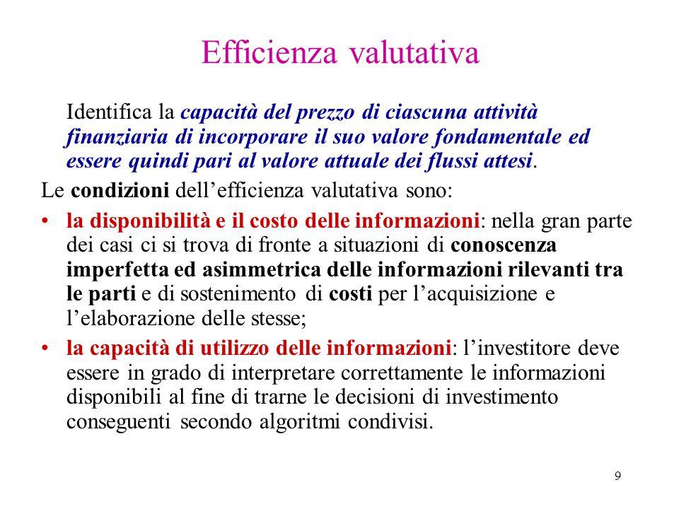 9 Efficienza valutativa Identifica la capacità del prezzo di ciascuna attività finanziaria di incorporare il suo valore fondamentale ed essere quindi pari al valore attuale dei flussi attesi.