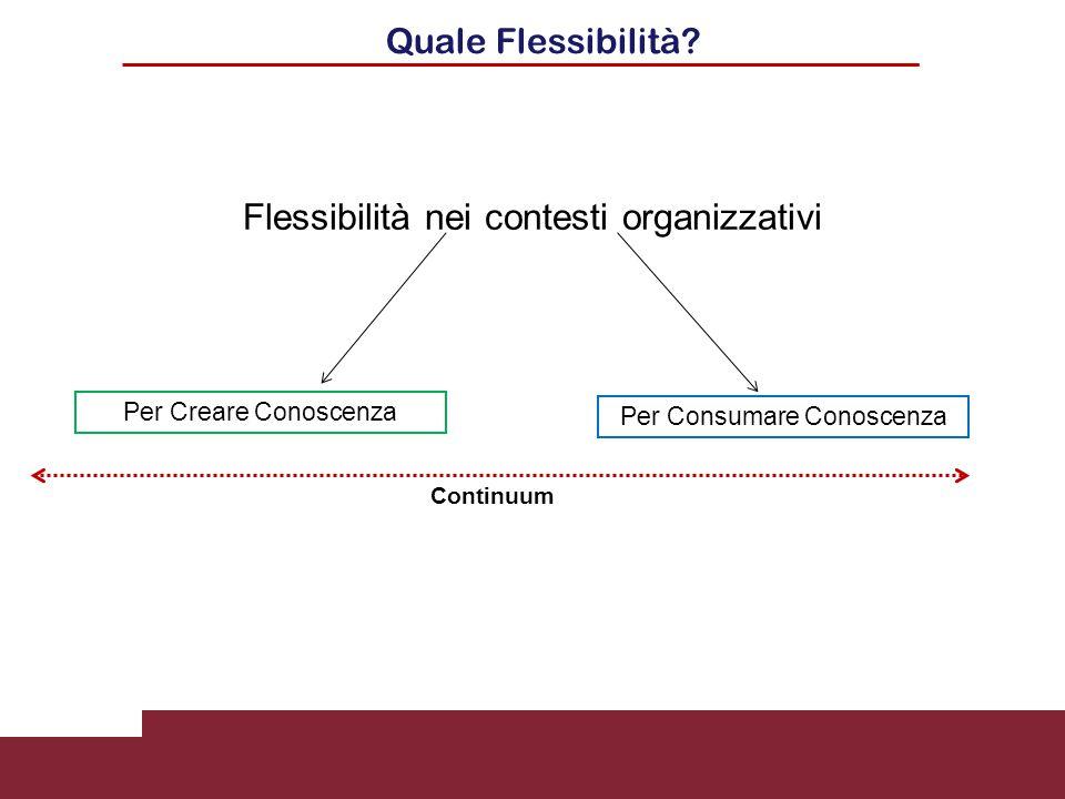 Quale Flessibilità? Flessibilità nei contesti organizzativi Per Creare Conoscenza Per Consumare Conoscenza Continuum