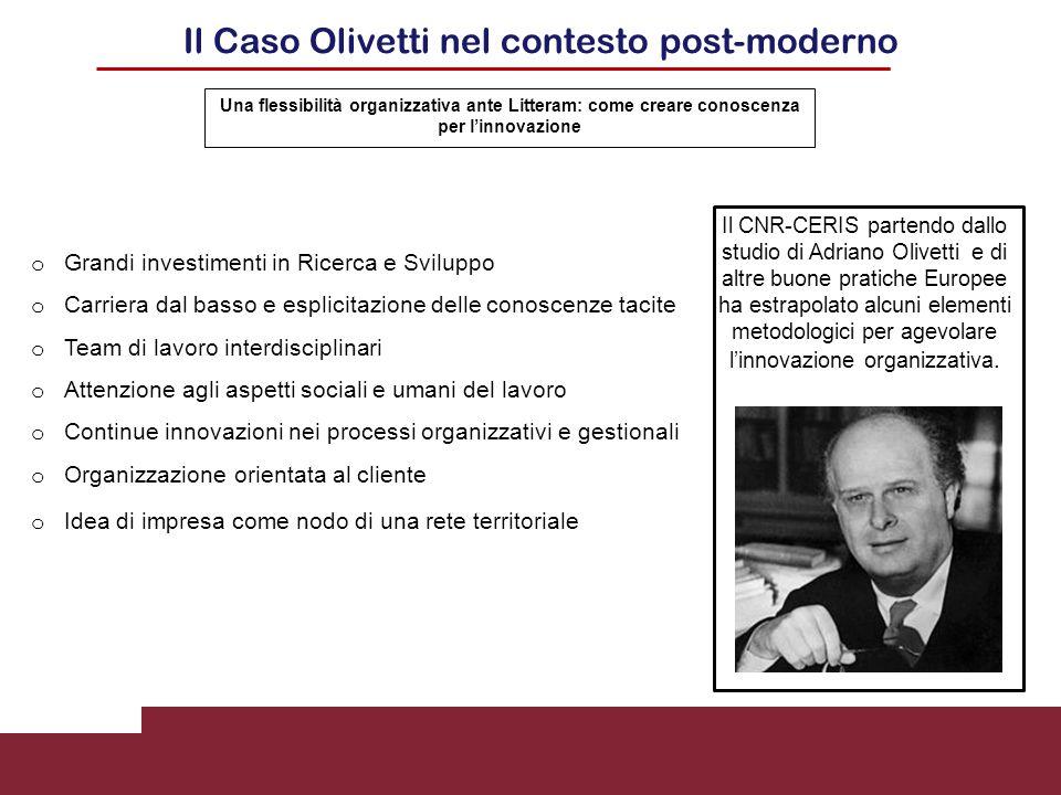 Il Caso Olivetti nel contesto post-moderno o Grandi investimenti in Ricerca e Sviluppo o Carriera dal basso e esplicitazione delle conoscenze tacite o