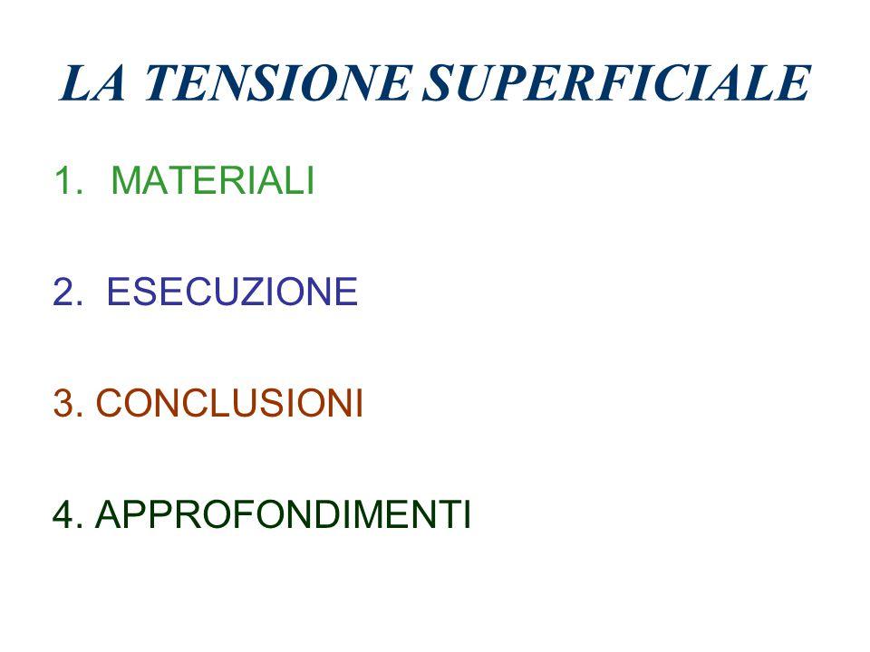 LA TENSIONE SUPERFICIALE 1.MATERIALI 2. ESECUZIONE 3. CONCLUSIONI 4. APPROFONDIMENTI