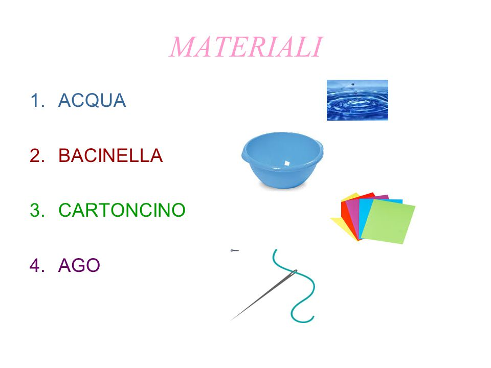 MATERIALI 1.ACQUA 2.BACINELLA 3.CARTONCINO 4.AGO