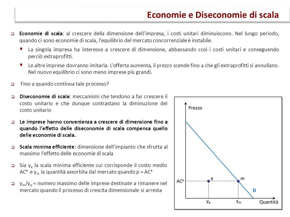 Economie di scala: al crescere della dimensione dell'impresa, i costi unitari diminuiscono. Nel lungo periodo, quando ci sono economie di scala, l'e