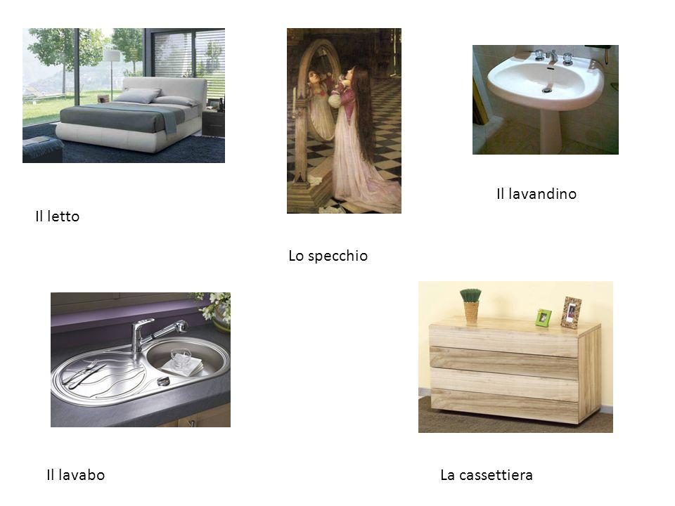 Il letto Il lavandino Lo specchio Il lavaboLa cassettiera