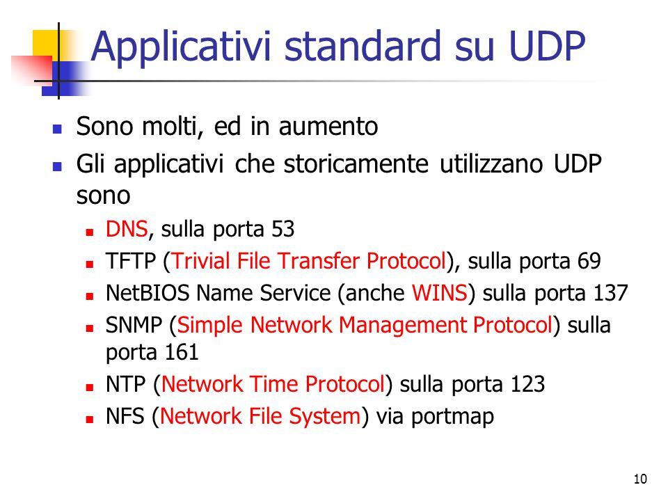 10 Applicativi standard su UDP Sono molti, ed in aumento Gli applicativi che storicamente utilizzano UDP sono DNS, sulla porta 53 TFTP (Trivial File Transfer Protocol), sulla porta 69 NetBIOS Name Service (anche WINS) sulla porta 137 SNMP (Simple Network Management Protocol) sulla porta 161 NTP (Network Time Protocol) sulla porta 123 NFS (Network File System) via portmap