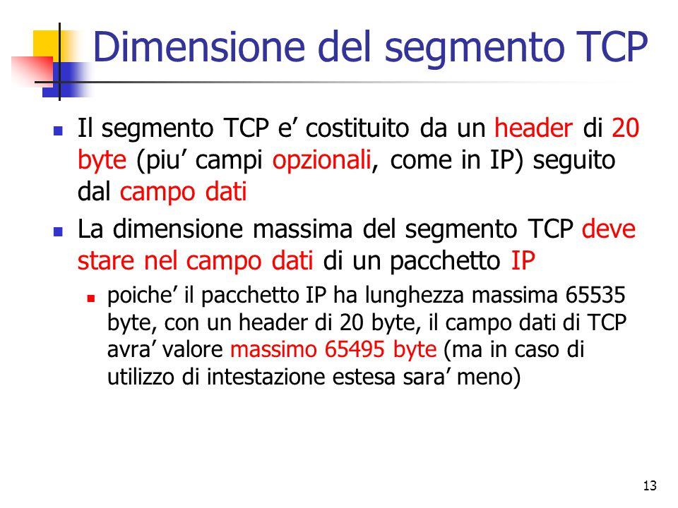 13 Dimensione del segmento TCP Il segmento TCP e' costituito da un header di 20 byte (piu' campi opzionali, come in IP) seguito dal campo dati La dimensione massima del segmento TCP deve stare nel campo dati di un pacchetto IP poiche' il pacchetto IP ha lunghezza massima 65535 byte, con un header di 20 byte, il campo dati di TCP avra' valore massimo 65495 byte (ma in caso di utilizzo di intestazione estesa sara' meno)