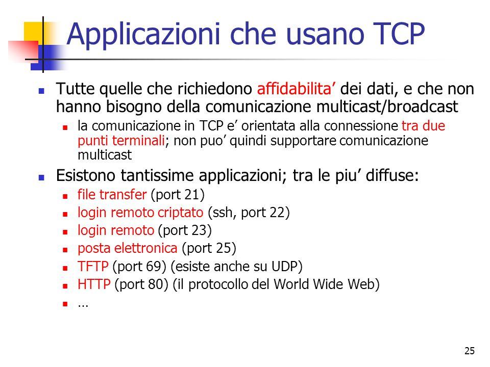 25 Applicazioni che usano TCP Tutte quelle che richiedono affidabilita' dei dati, e che non hanno bisogno della comunicazione multicast/broadcast la comunicazione in TCP e' orientata alla connessione tra due punti terminali; non puo' quindi supportare comunicazione multicast Esistono tantissime applicazioni; tra le piu' diffuse: file transfer (port 21) login remoto criptato (ssh, port 22) login remoto (port 23) posta elettronica (port 25) TFTP (port 69) (esiste anche su UDP) HTTP (port 80) (il protocollo del World Wide Web) …