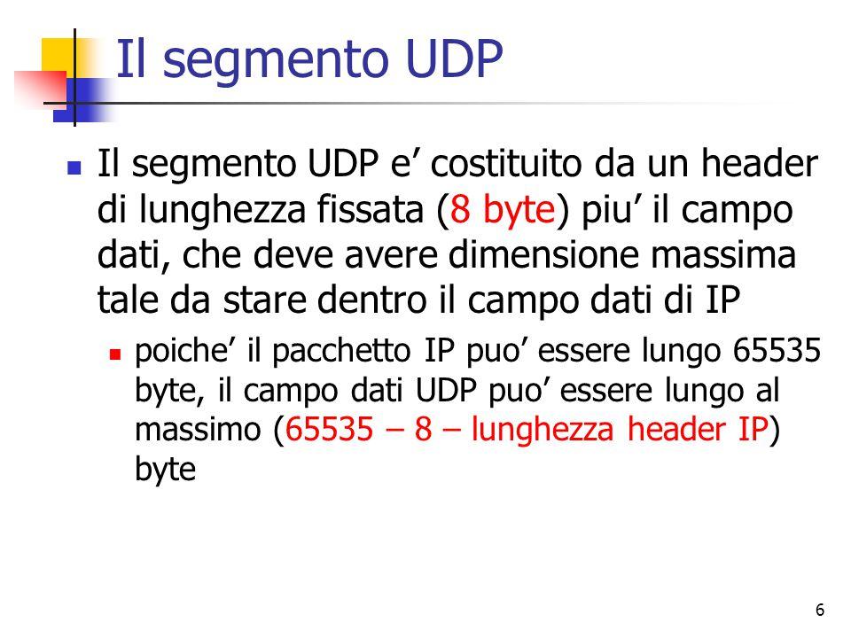 6 Il segmento UDP Il segmento UDP e' costituito da un header di lunghezza fissata (8 byte) piu' il campo dati, che deve avere dimensione massima tale da stare dentro il campo dati di IP poiche' il pacchetto IP puo' essere lungo 65535 byte, il campo dati UDP puo' essere lungo al massimo (65535 – 8 – lunghezza header IP) byte