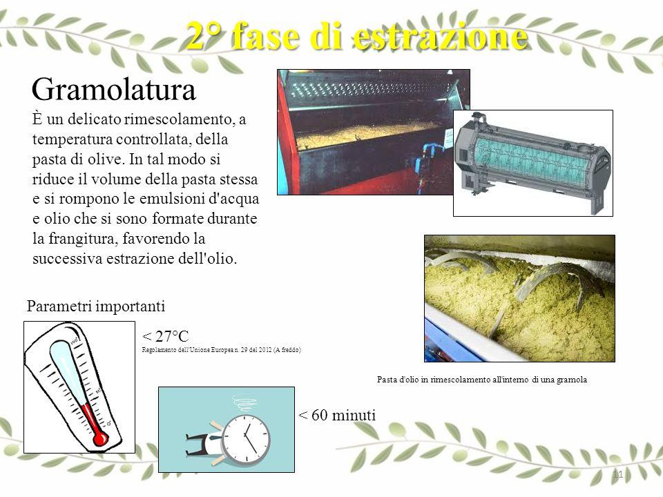 2° fase di estrazione Gramolatura È un delicato rimescolamento, a temperatura controllata, della pasta di olive. In tal modo si riduce il volume della