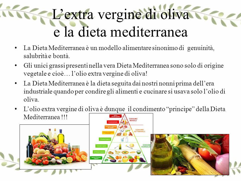 L'extra vergine di oliva e la dieta mediterranea La Dieta Mediterranea è un modello alimentare sinonimo di genuinità, salubrità e bontà. Gli unici gra