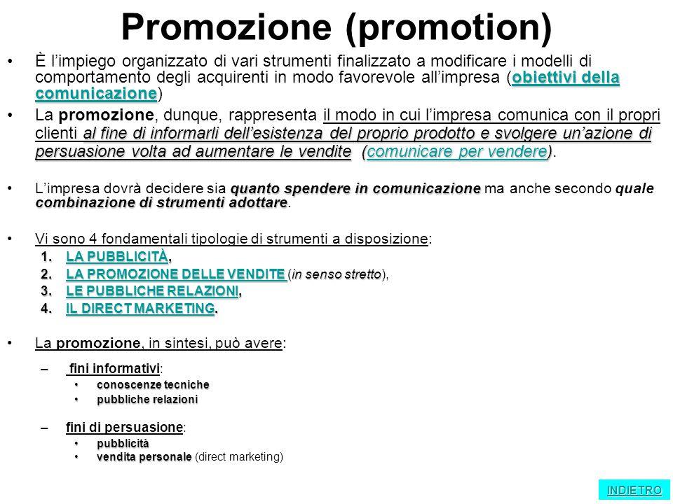 Promozione (promotion) obiettivi della comunicazione obiettivi della comunicazioneÈ l'impiego organizzato di vari strumenti finalizzato a modificare i