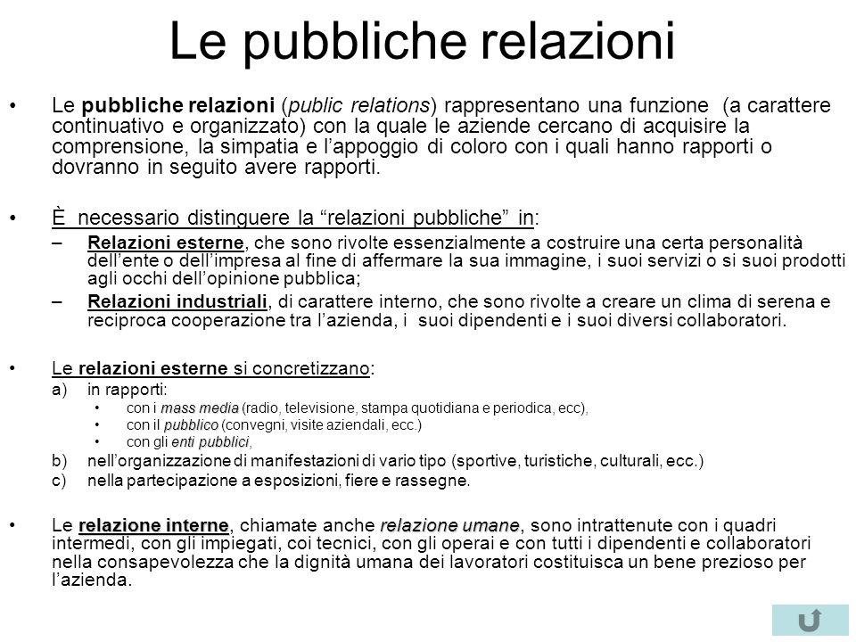 Le pubbliche relazioni Le pubbliche relazioni (public relations) rappresentano una funzione (a carattere continuativo e organizzato) con la quale le a