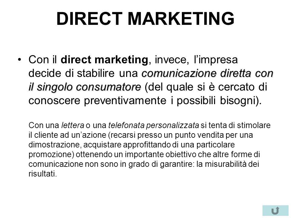 DIRECT MARKETING comunicazione diretta con il singolo consumatoreCon il direct marketing, invece, l'impresa decide di stabilire una comunicazione dire