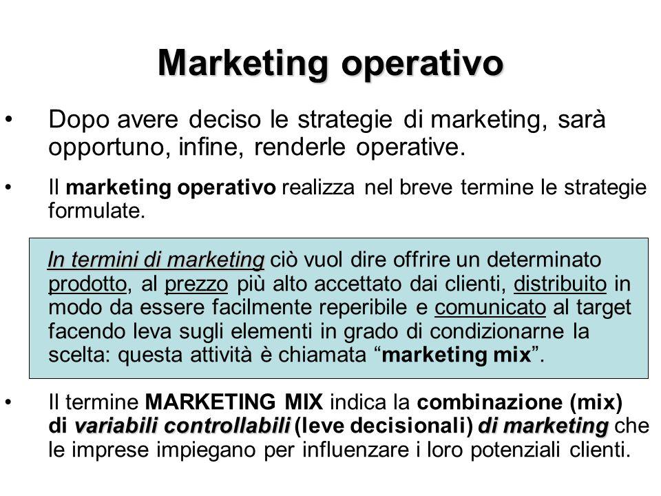 Marketing operativo Dopo avere deciso le strategie di marketing, sarà opportuno, infine, renderle operative. Il marketing operativo realizza nel breve
