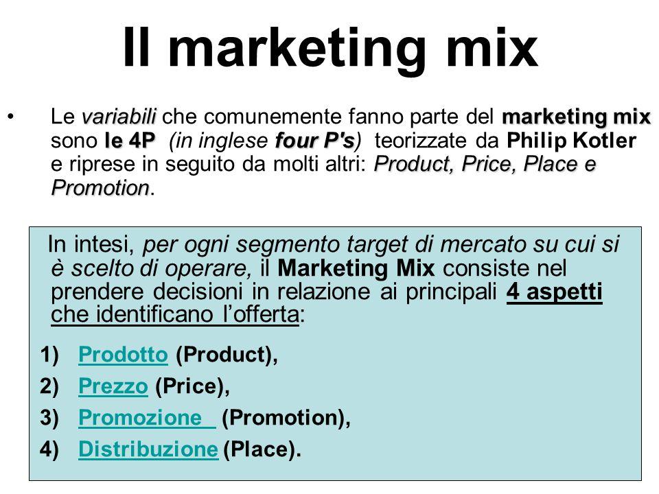 Il marketing mix variabilimarketing mix le 4Pfour P's Product, Price, Place e PromotionLe variabili che comunemente fanno parte del marketing mix sono