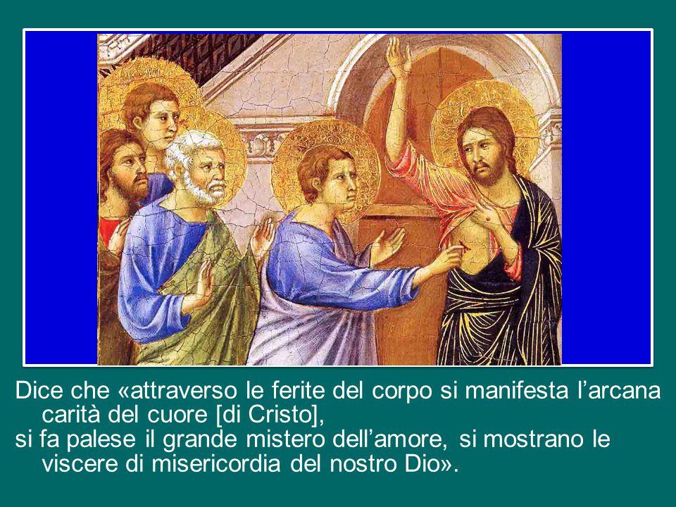 San Bernardo, in un suo commento al Cantico dei Cantici (Disc. 61, 3-5; Opera omnia 2, 150-151), si sofferma proprio sul mistero delle piaghe del Sign