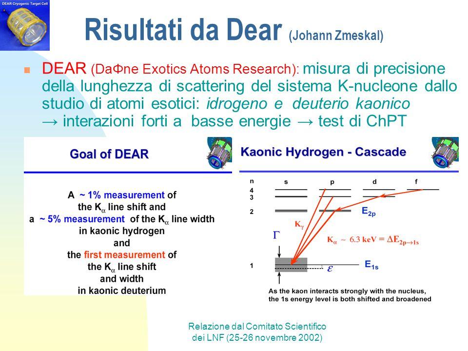 Relazione dal Comitato Scientifico dei LNF (25-26 novembre 2002) Risultati da Dear (Johann Zmeskal) DEAR (DaΦne Exotics Atoms Research): misura di pre