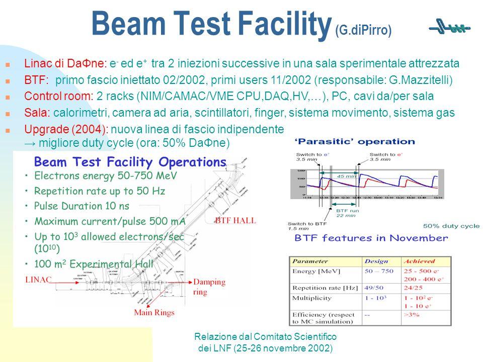 Relazione dal Comitato Scientifico dei LNF (25-26 novembre 2002) Beam Test Facility (G.diPirro) Linac di DaΦne: e - ed e + tra 2 iniezioni successive