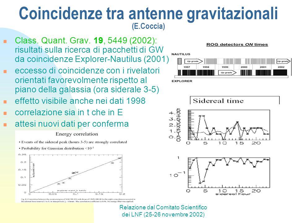 Relazione dal Comitato Scientifico dei LNF (25-26 novembre 2002) Coincidenze tra antenne gravitazionali (E.Coccia) Class.