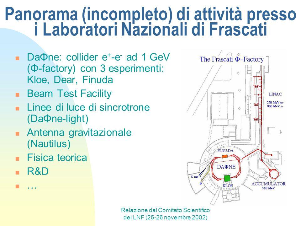 Relazione dal Comitato Scientifico dei LNF (25-26 novembre 2002) Panorama (incompleto) di attività presso i Laboratori Nazionali di Frascati DaΦne: co