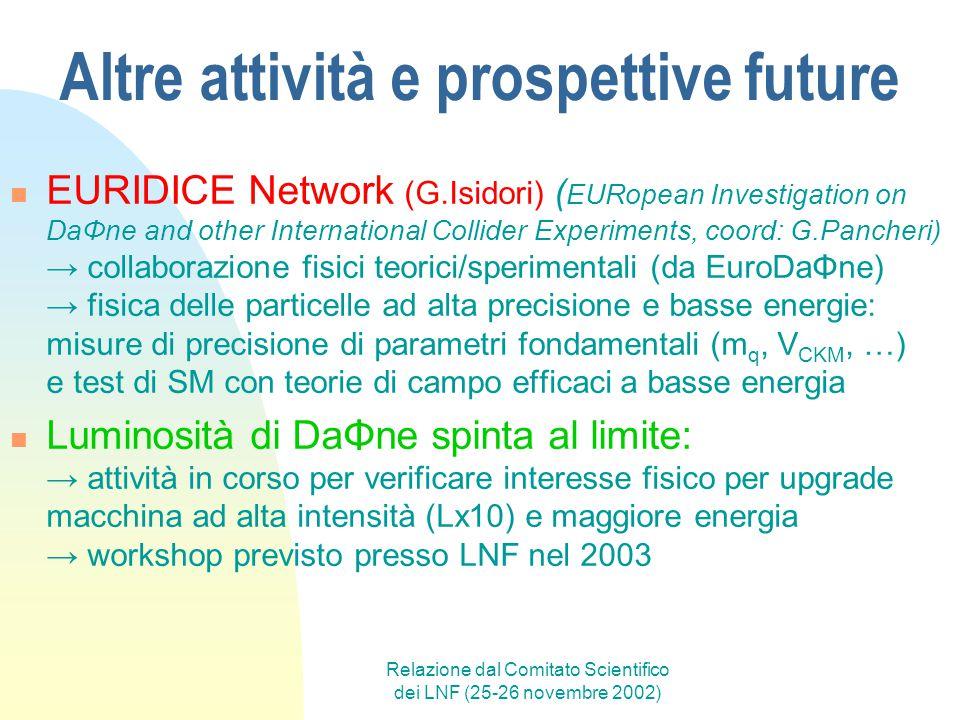 Relazione dal Comitato Scientifico dei LNF (25-26 novembre 2002) Altre attività e prospettive future EURIDICE Network (G.Isidori) ( EURopean Investiga